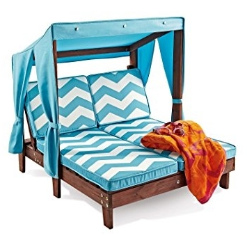 Chaise Lounge Chair With Canopy In Current Amazon: Outdoor Kid's Double Chaise Lounge Chair W/ Canopy (View 1 of 15)