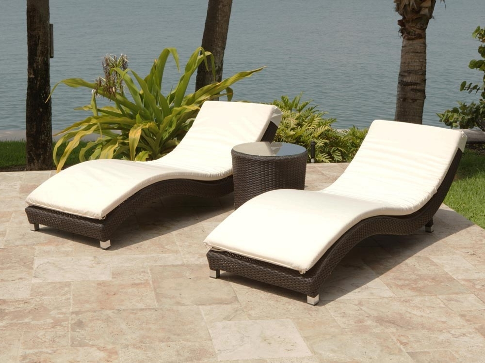 Chaise Lounge Sets In Preferred Source Outdoor Wave 3 Piece Wicker Chaise Lounge Set – Wicker (View 6 of 15)
