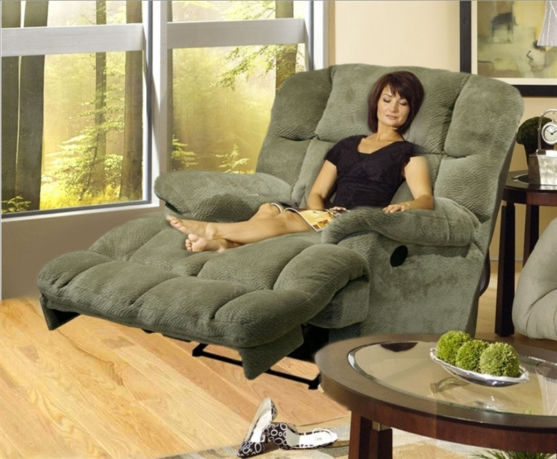 Chaise Recliners Intended For Best And Newest Reclining Chaise In Sage Or Chocolate Microfiber Fabric (View 8 of 15)