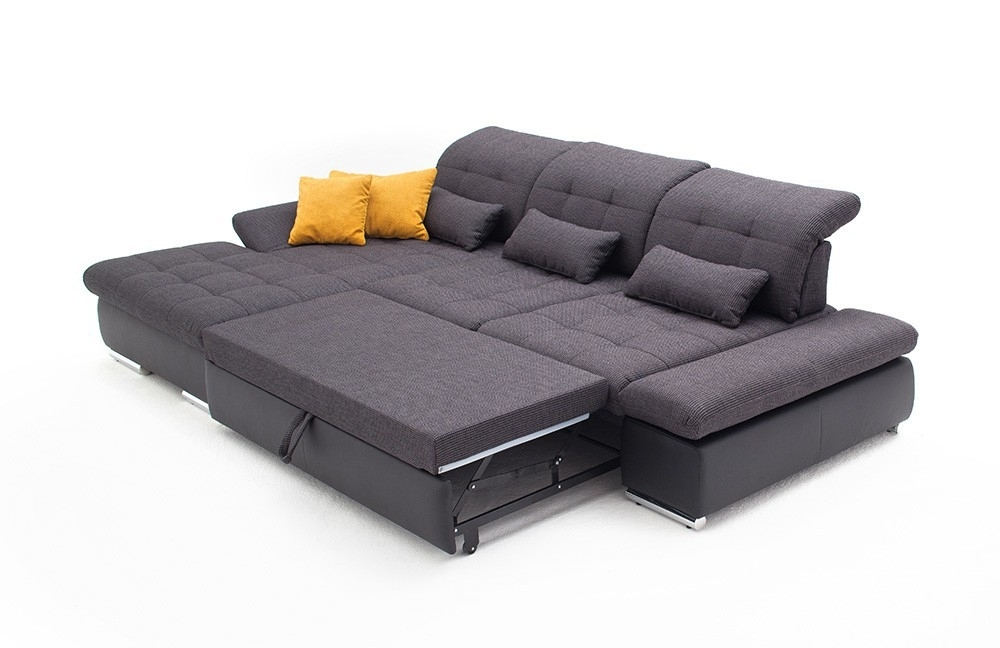 Chaise Sleeper Sofas Within Fashionable Alpine Sectional Sleeper Sofa, Right Arm Chaise Facing, Dark Grey (View 5 of 15)