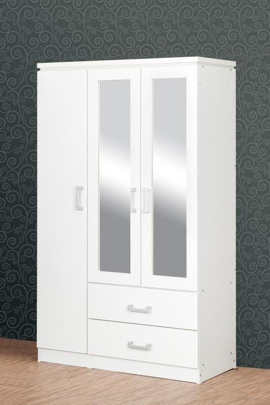 Charles 3 Door Mirrored Wardrobe – White Bedroom Furniture For Fashionable White 3 Door Mirrored Wardrobes (View 4 of 15)