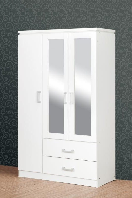 Charles 3 Door Mirrored Wardrobe – White Bedroom Furniture Intended For Most Current White Three Door Wardrobes (View 2 of 15)