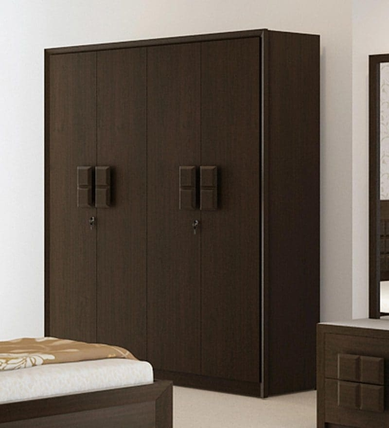 Cheap 4 Door Wardrobes In Widely Used Buy Hotaru Four Door Wardrobe With Mirror In Walnut Finish (View 4 of 15)