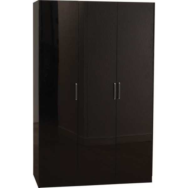 Cheap Black Wardrobes Inside Current Cheap Seconique Charisma Black High Gloss 3 Door Wardrobe For Sale (View 3 of 15)