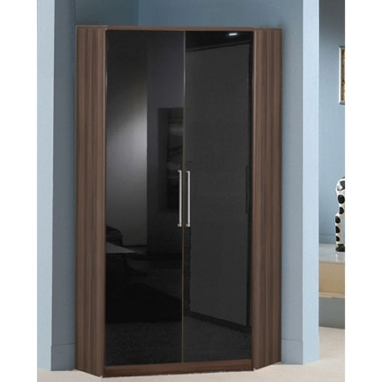 Cheap Corner Wardrobes Throughout 2018 Corner Wardrobe In Walnut With Gloss Black 2 Door (View 2 of 15)