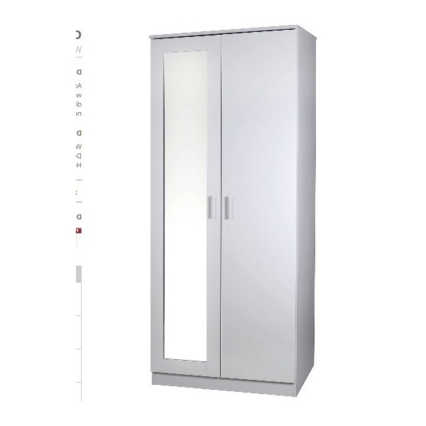 Cheap Ottawa 2 Door High Gloss Wardrobe With Mirror For Sale Online With Well Liked Cheap Black Wardrobes (View 5 of 15)