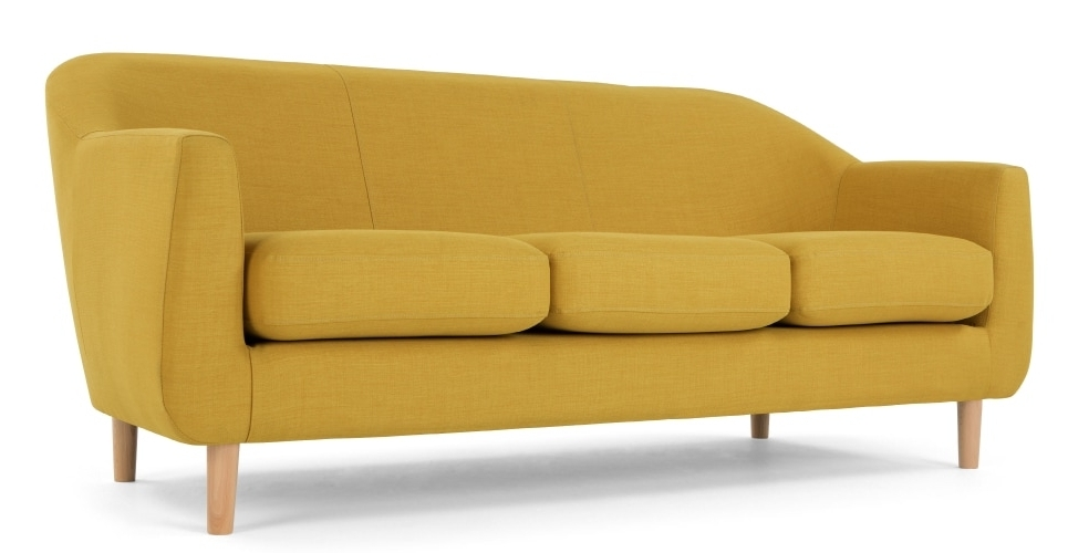 Cheap Retro Sofas For Recent Tubby 3 Seater Sofa, Retro Yellow (View 1 of 10)