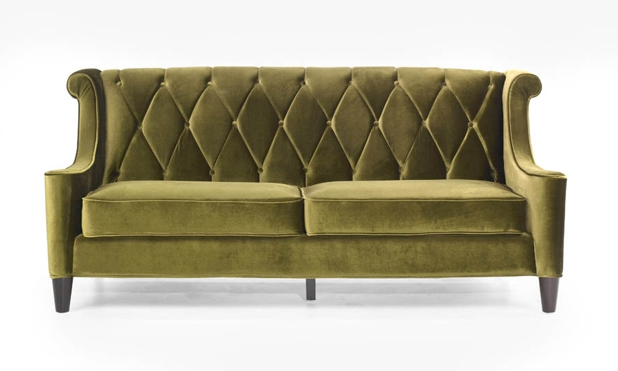 Cheap Retro Sofas With Favorite Barrister Retro Sofa In Mid Century Modern Green Velvet (View 3 of 10)