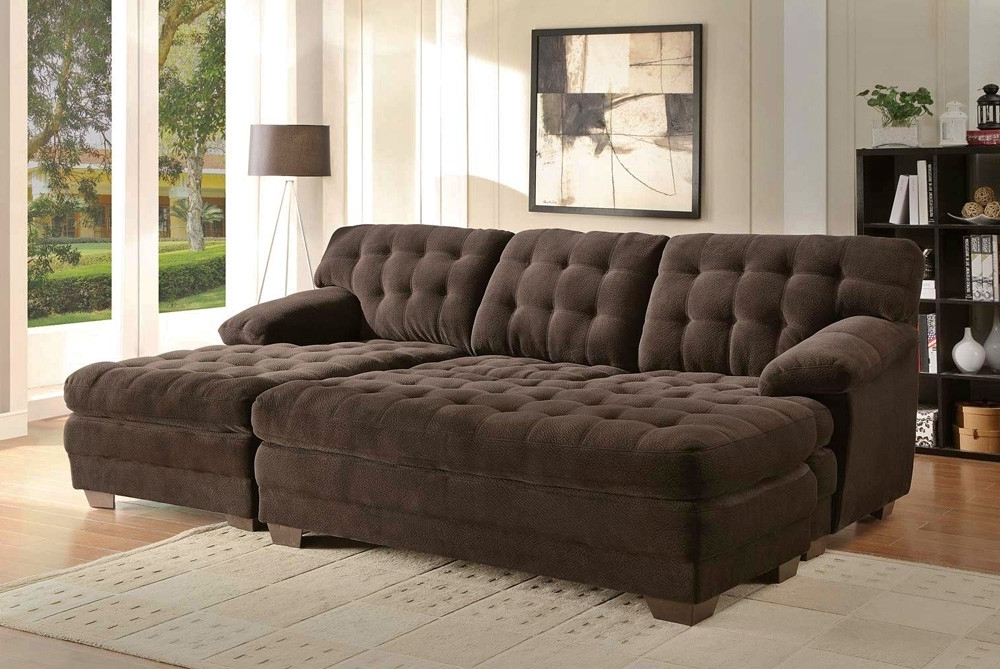 Cheap Sectionals With Ottoman Intended For Famous Renton Chocolate Microfiber Sectional Sofa For With Oversized (View 5 of 10)