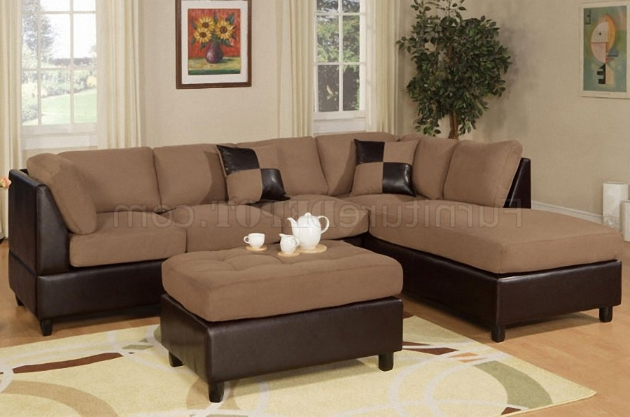 Cheap Sectionals With Ottoman With Regard To Most Recently Released F7616 Poundex Saddle Microfiber Modern Sectional Sofa W/ottoman (View 7 of 10)
