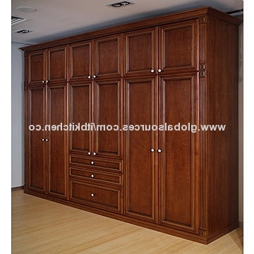 Cheap Solid Wood Wardrobes In Famous Solid Wood Wardrobe, Cherry Color, Size Can Be Customized, Factory (View 8 of 15)