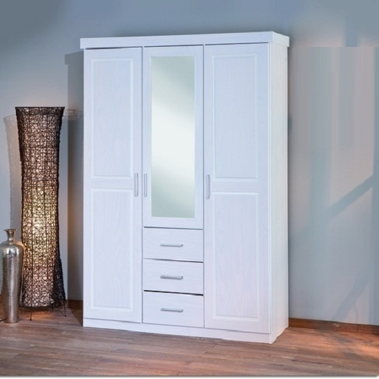 Cheap White Wardrobes Sets With Recent Mirror Design Ideas: Geraldo Product Mirror Door Wardrobes Sale (View 7 of 15)
