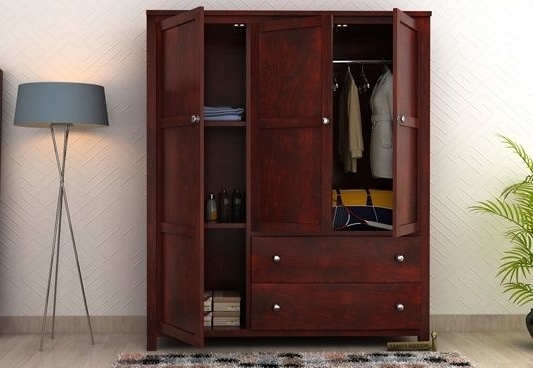 Cheap Wood Wardrobes Pertaining To Well Known Buy Zed Multi Utility #wardrobe With Mahogany Finish Online At (View 4 of 15)