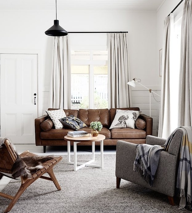 Chic Ways To Style A Brown Sofa In Your Living Pertaining To Brown Sofa Chairs (View 4 of 10)