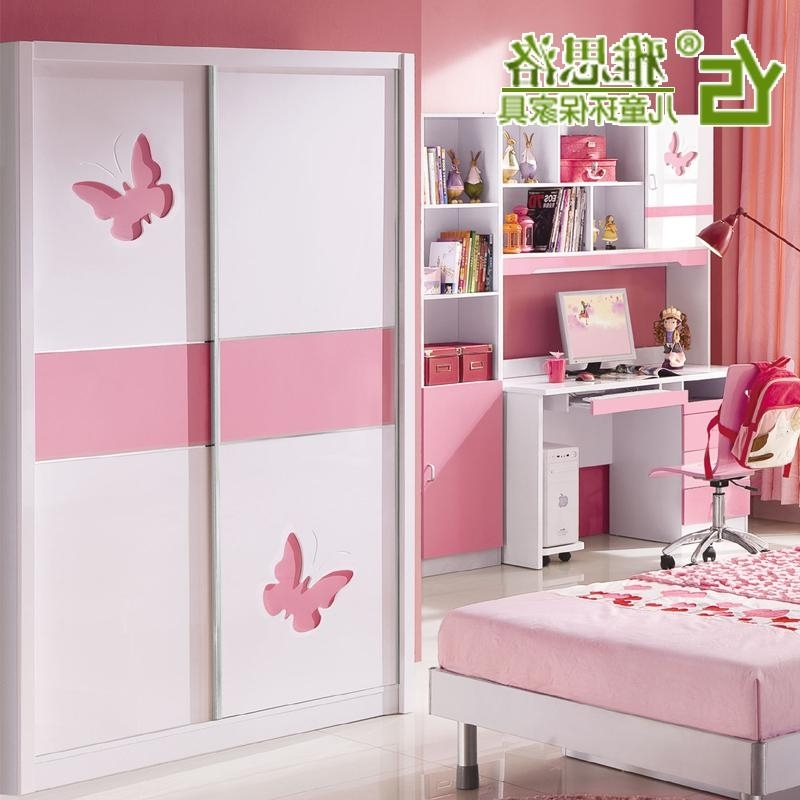 Child Sliding Door Wardrobe Wardrobe Girl Princess Furniture Plate Throughout Popular Childrens Pink Wardrobes (View 3 of 15)