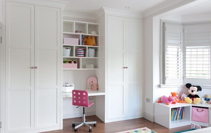 Childrens Bedroom Wardrobes With Regard To Fashionable Floor To Ceiling Fitted #wardrobes With #desk Area In #white Satin (View 7 of 15)