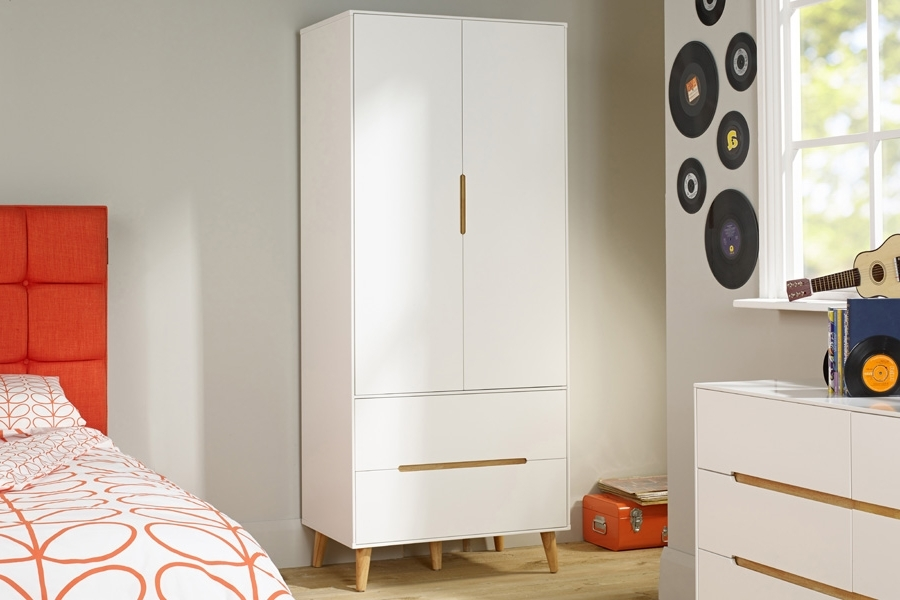 Childrens Double Rail Wardrobes For Famous Kids Room : Children's Modern Double Wardrobe In White Color (View 2 of 15)