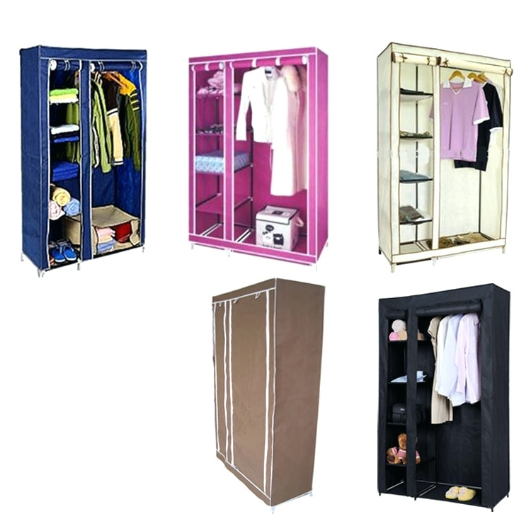 Childrens Double Rail Wardrobes Within Latest Wardrobes ~ Double Canvas Wardrobe Cupboard Clothes Hanging Rail (View 5 of 15)