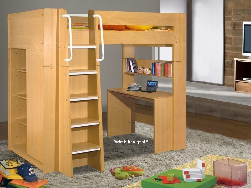 Children's London High Sleeper Beds With Wardrobe & Desk – Beech Regarding 2017 High Sleeper Bed With Wardrobes (View 1 of 15)