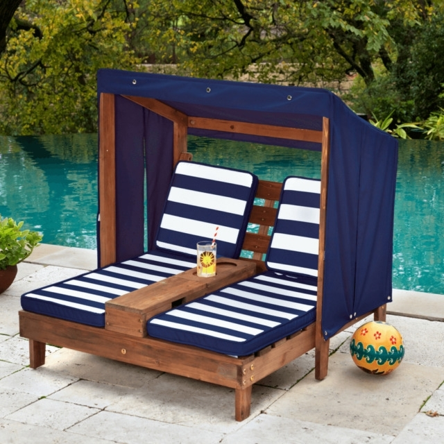 Children's Outdoor Chaise Lounge Chairs Inside Preferred Kidkraft Double Chaise Kids Sun Lounge Outdoor Furniture Children (View 11 of 15)