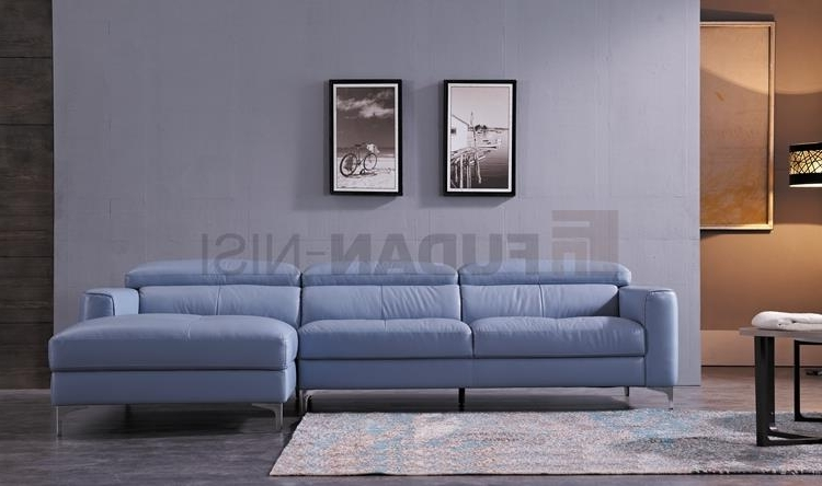 China Niagara Blue Leather Sectional Sofa With Duck Feather With Trendy Niagara Sectional Sofas (View 5 of 10)