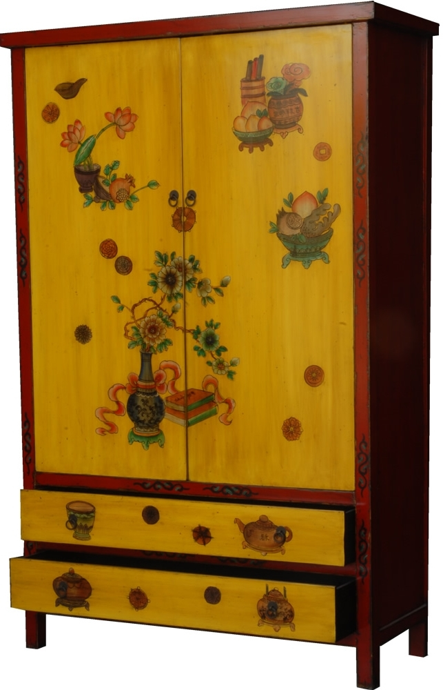 Chinese Style Hand Painted Wardrobe In Yellow With Regard To Current Chinese Wardrobes (View 4 of 15)