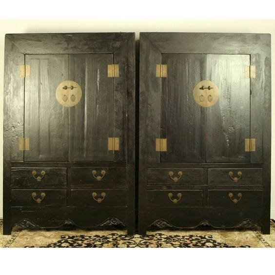 Chinese Wardrobes In Trendy Antique Mongolian 87″ Long 3 Door, 3 Drawer Buffet, Sideboard (View 5 of 15)