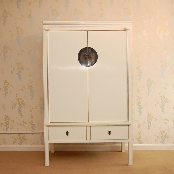 Chinese White Lacquer Wardrobe With 2 Drawers (View 7 of 15)