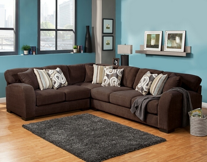Chocolate Sectional Sofas For Latest Benchley Wesley Sect Chocolate 3 Pc Wesley Collection Chocolate (View 4 of 10)