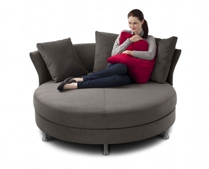 Circle Sofas Regarding Well Known Sofa Design: Woman Round Sofa Siting Pillow Hug Red Delta Circle (View 2 of 10)