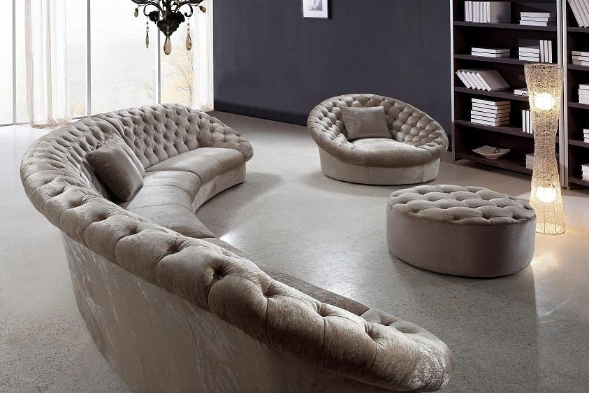 Circular Sectional Sofas For Favorite Vanity Leon Fabric Sectional Sofa Chair And Round Ottoman (View 6 of 10)