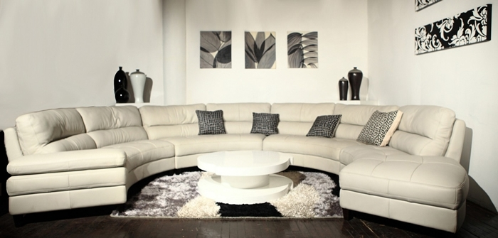 Circular Sectional Sofas In Most Recently Released Sectional Sofa Design: Simple Curved Leather Sectional Sofa  (View 4 of 10)