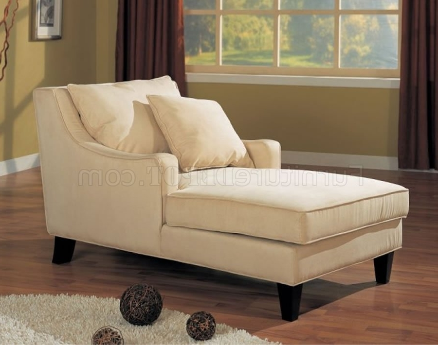 Coaster Chaise Lounges Throughout Well Known Cream Microfiber Classic Chaise Lounge W/cappuccino Finish Base (View 6 of 15)