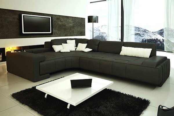Collection Modern Sectional Sofa – Black Tos Lf 1007 Black Throughout 2018 Modern Sectional Sofas (View 1 of 10)