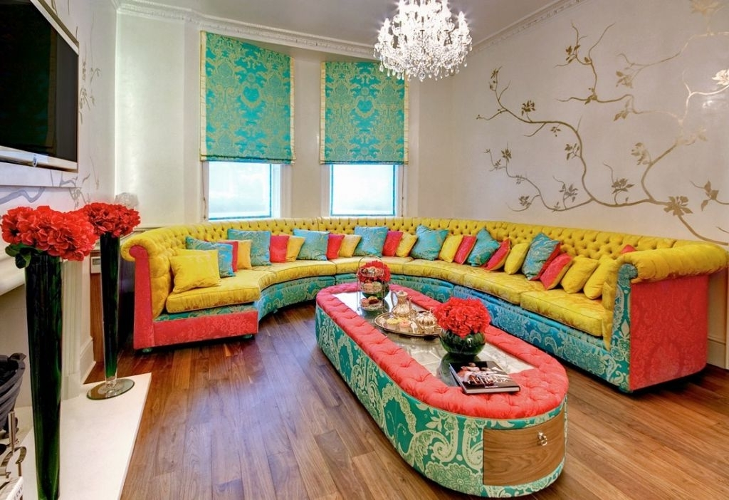 Colorful Sofas And Chairs Pertaining To Well Liked The Colorful Living Room Furniture Home Design Ideas With Colored (View 4 of 10)