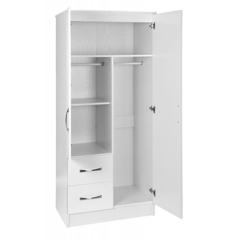 Combi Wardrobes Inside Most Current Marina White Gloss 2 Door Mirrored Combi Wardrobe (View 4 of 15)