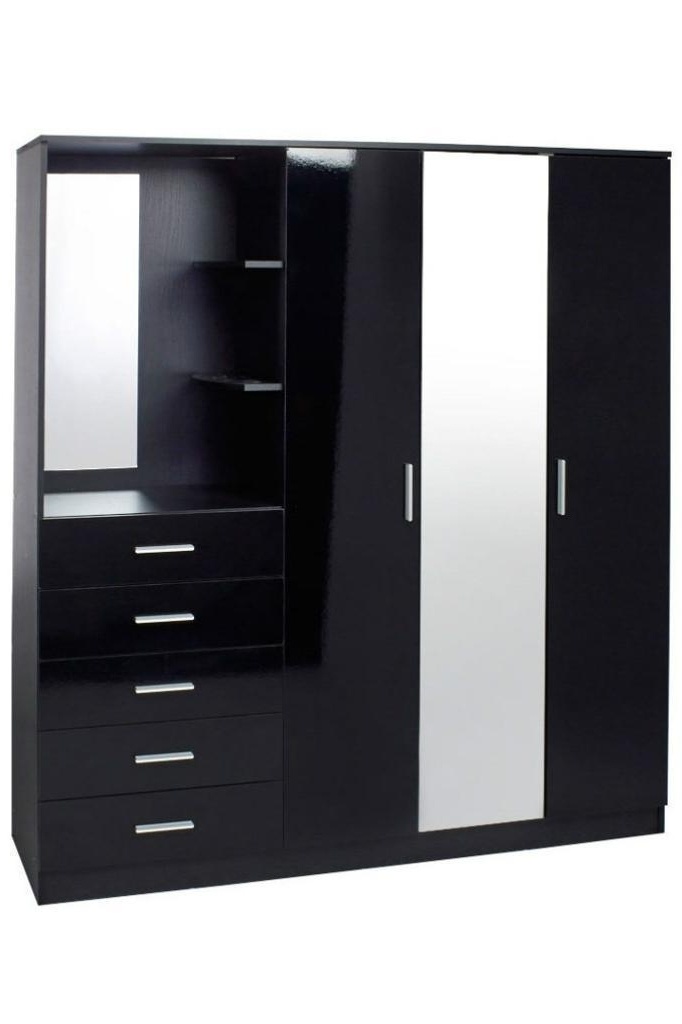 Combi Wardrobes Inside Most Recent Carleton Mirrored Combi Unit High Gloss Black Wardrobe Unit (View 10 of 15)