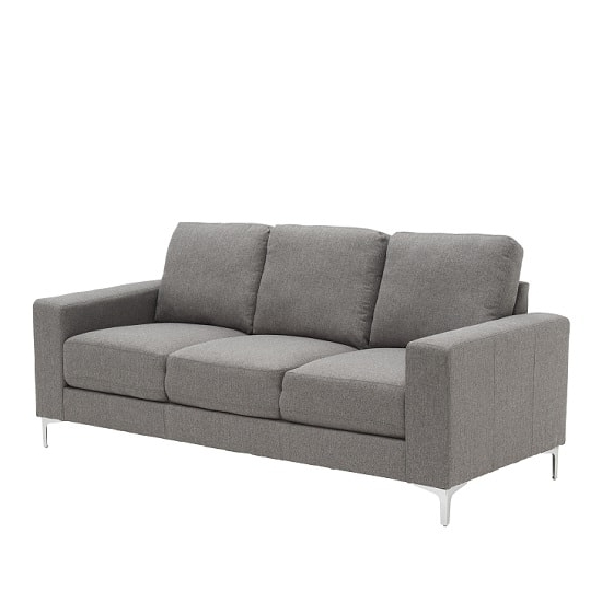 Contemporary 3 Seater Sofa In Grey With Metal Legs With Regard To Recent Modern 3 Seater Sofas (View 3 of 10)