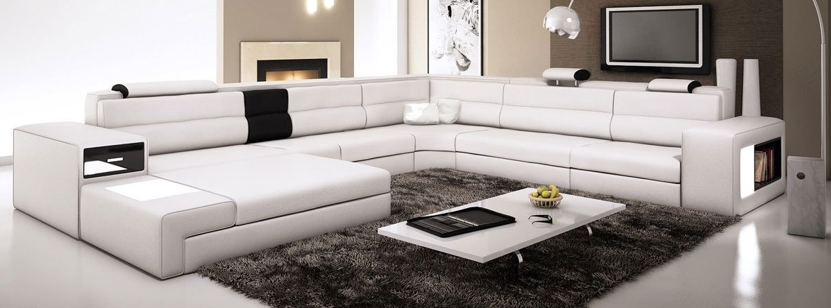 Contemporary Sectional Sofas Inside Famous Amazon: White Contemporary Italian Leather Sectional Sofa (View 1 of 10)