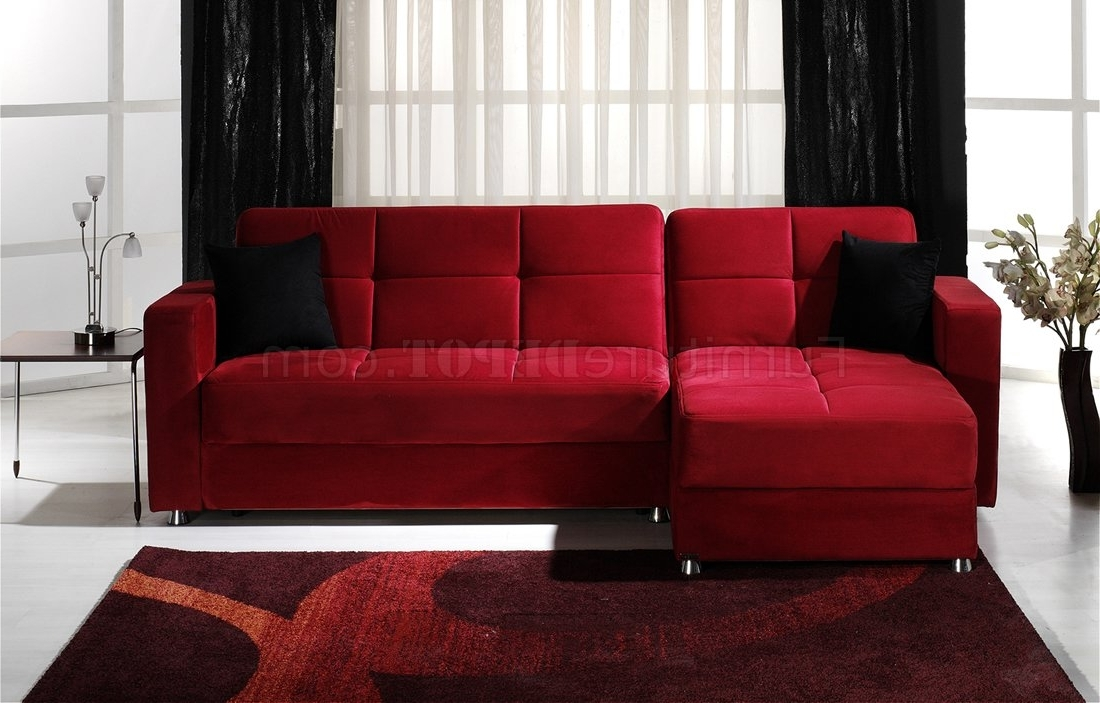 Convertible Sectional Sofa W/storages In Red Microfiber With Regard To Most Recent Red Sectional Sofas (View 2 of 10)