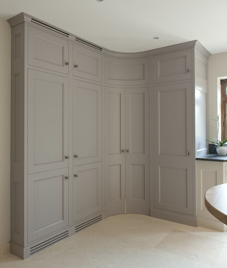 Corner Pantry With Convex Curved Doors – Grey Kitchen Cabinets Throughout 2017 Curved Corner Wardrobes Doors (View 2 of 15)