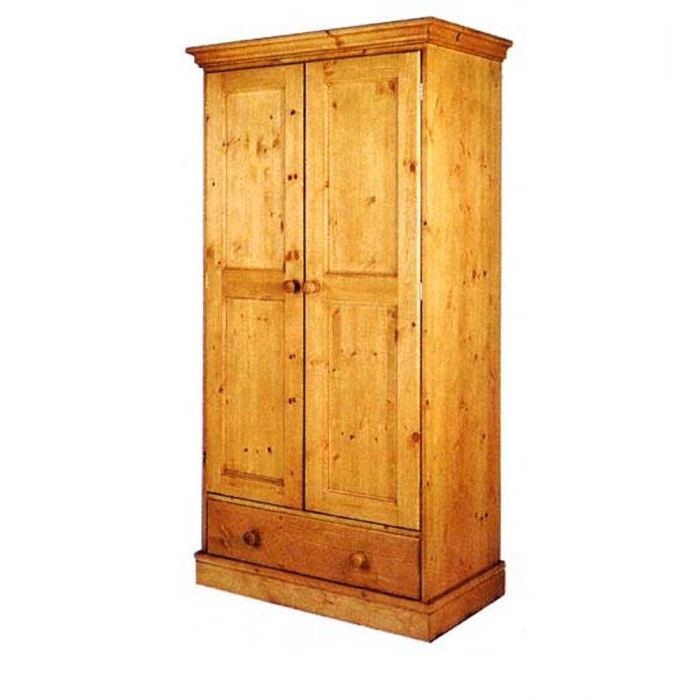 Cornish Single Pine Wardrobe With Drawer – Lauries Furniture, Somerset Intended For Well Known Pine Wardrobes With Drawers (View 3 of 15)