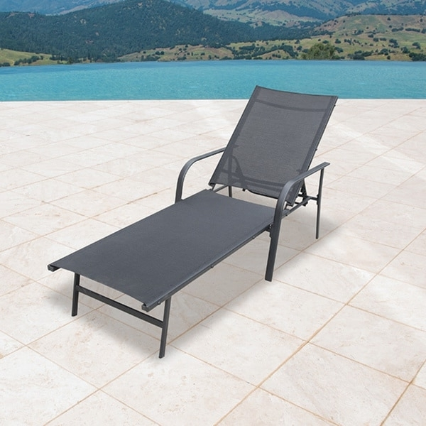 Corvus Antonio Outdoor Sling Fabric Adjustable Chaise Lounge With Latest Fabric Outdoor Chaise Lounge Chairs (View 2 of 15)