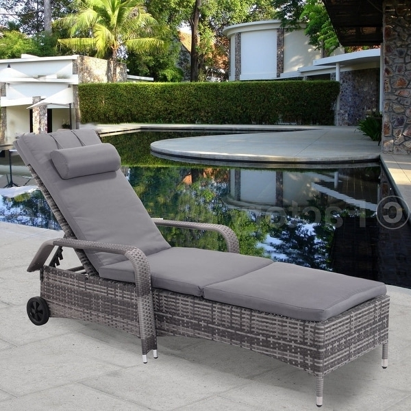 Costway Outdoor Chaise Lounge Chair Recliner Cushioned Patio Furni Within Trendy Overstock Outdoor Chaise Lounge Chairs (View 3 of 15)