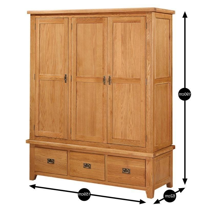 Cotswold Oak 3 Door 3 Drawer Wardrobe – Buy Online At Qd Stores Pertaining To Trendy Oak 3 Door Wardrobes (View 1 of 15)