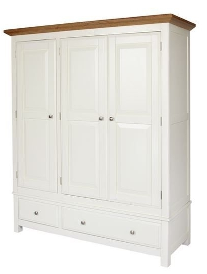 Country Cream Triple Wardrobe – Wardrobes – Dragon Furniture With Regard To 2018 Cream Wardrobes (View 3 of 15)