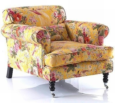 Country English – Pretty Yellow Chintz Chair (View 6 of 10)