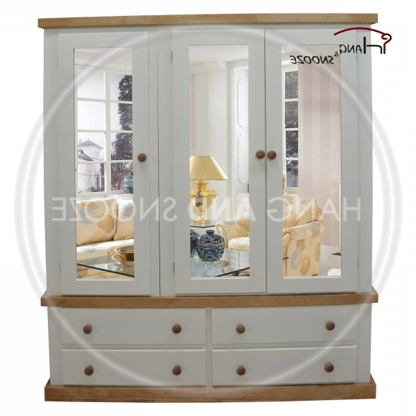 Country Triple 4 Drawer 3 Door Mirrored Wardrobe Regarding Most Recent Triple Mirrored Wardrobes (View 5 of 15)
