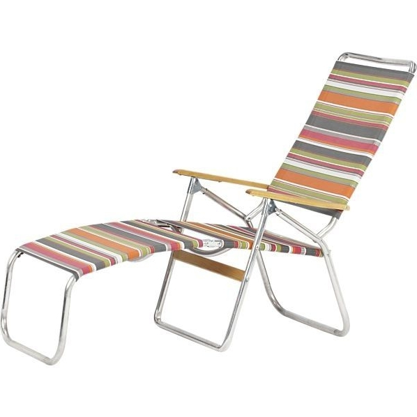 Crate & Barrel Stripe Folding Chaise Lounge #dreamdesigndwell Throughout Current Beach Chaise Lounge Chairs (View 9 of 15)