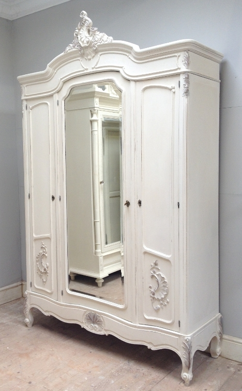 Cream French Wardrobes In Widely Used French Antique Triple Door Armoire (View 3 of 15)